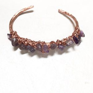 Genuine Amethyst Copper Gemstone Cuff Bracelet